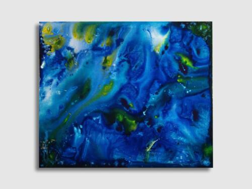 LORENZO VISCIDI BLUER, Vitalità dell'Anima nell'esperienza - Cieli e Luce dentro, cm 130 x 110, inchiostri e resine su tela, 2019