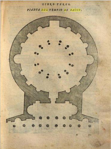 AF 08 Pianta del tempio di Bacco (Tutte l'opere d'architettura e prospettiva, Libro Terzo di S. Serlio, Venezia 1537 presso lo stampatore Francesco Marcolini