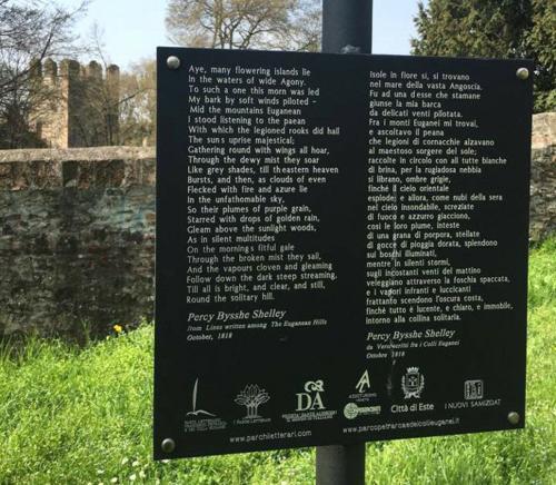 Poesia di Shelley sul percorso del Parco letterario dei Colli Euganei