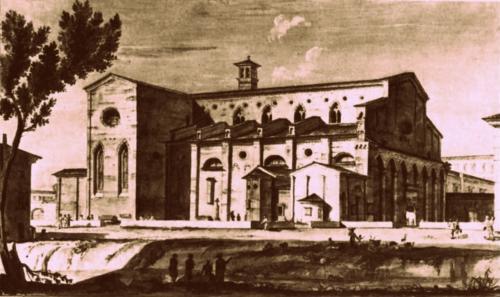 La chiesa di S. Agostino, nella zona della attuale caserma Piave, in una stampa ottocentesca.