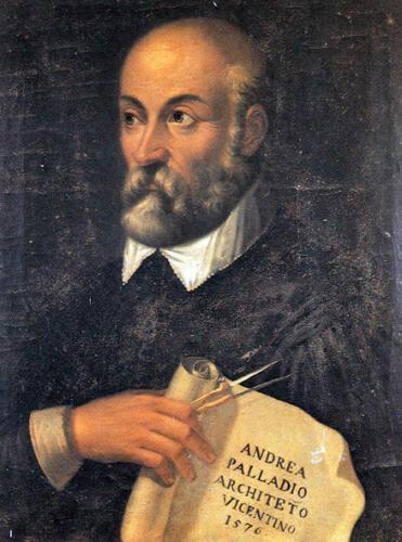 01 - Andrea Palladio nel 1576, in uno dei pochissimi ritratti ritenuti attendibili. Olio su tavola, attribuito a G. B. Maganza. Vicenza, Villa Valmarana ai Nani.