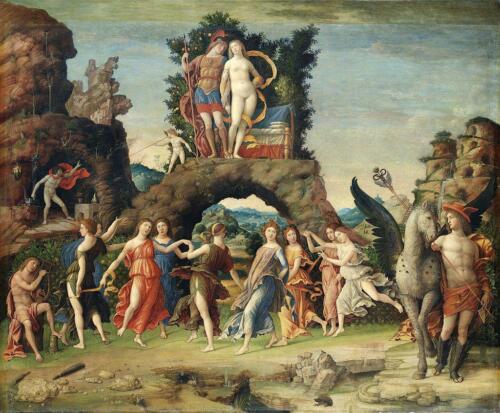 03 - Andrea Mantegna, Il Parnaso (Parigi, Museo del Louvre) - Pubblico dominio. https://commons.wikimedia.org/w/index.php?curid=15708772