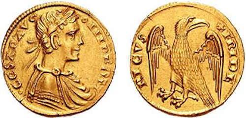 05 - Ritratto di Federico II su moneta d'oro (Fonte Wikimedia Commons)