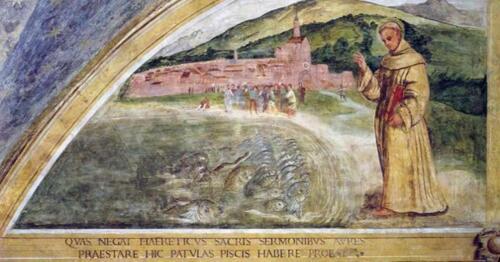 07 - Girolamo-Tessari, S. Antonio predica ai-pesci, XVI-sec. Santuario del Noce, Camposampiero (Photo Giorgio Deganello, fototeca MSA)