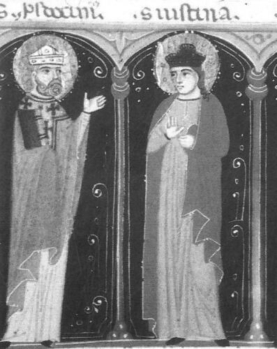Fig. 01. Santi patroni di Padova, particolare con  Prosdocimo e Giustina (1) (1)