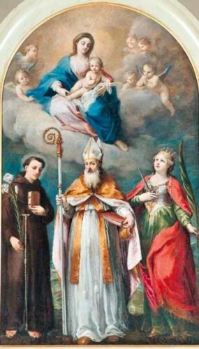 Fig. 02. Pala raffigurante S.Prosdocimo con S. Antonio e S. Giustina presente nella Chiesa di Villaguattera.