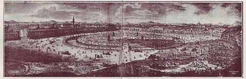 Incisione di Francesco Piranesi raffigurante l'intero progetto di Andrea Memmo su Prato della Valle (Padova). 1776. (Fonte Wikipedia)